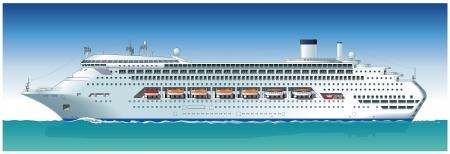 Hi-gedetailleerde cruiseschip. Beschikbaar vectorformaat sparated door groepen en lagen voor eenvoudige bewerking