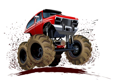 big wheel: Vector Cartoon Monster Truck  Available EPS-10 vector format separated by groups and layers for easy edit
