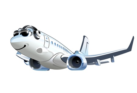 Vector Cartoon Airliner  Available EPS-8 vector format separated by groups and layers for easy edit Çizim