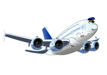 Vector Cartoon Airliner  Available EPS-8 vector format separated by groups and layers for easy edit Vector