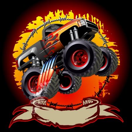 Cartoon Monster Truck. One-click herschilderen. Vector Illustratie