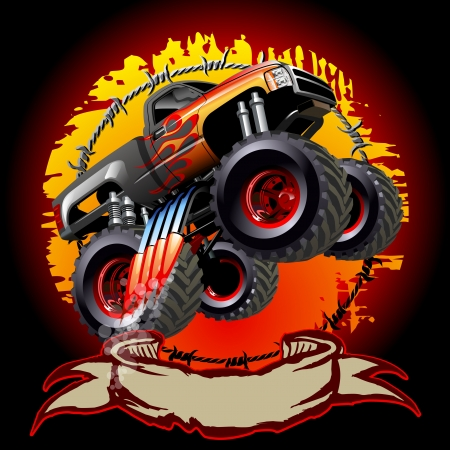 Cartoon Monster Truck. One-click repaint.  Vector