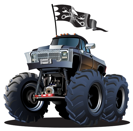Vector Cartoon Monster Truck. Stock Illustratie