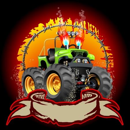 Cartoon Monster Truck  Available  Vector