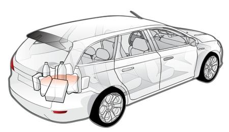 cutaway drawing: Car infographics cutaway  Illustration
