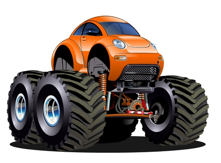 monster truck: Vector Cartoon Monster Truck one-click repaint  Available EPS-10 vector format separated by groups and layers for easy edit