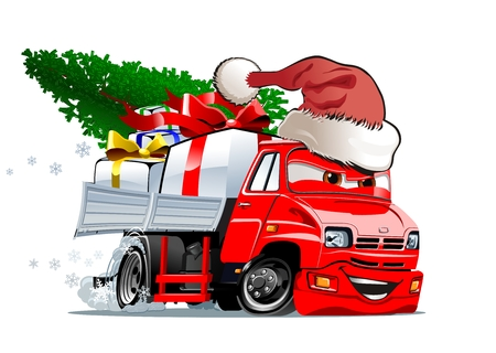 Cartoon kerst truck geïsoleerd op een witte achtergrond