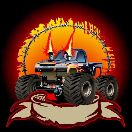 truck tractor: Cartoon Monster Truck  One-click repaint
