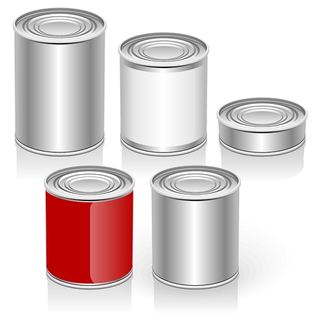 canned goods: Vector Tincan set