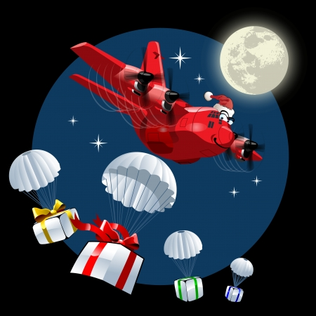 Cartoon Christmas Cargo Airplane.  Vector