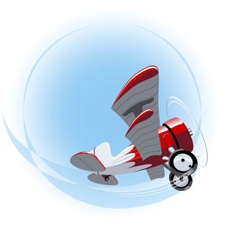 Vector Cartoon Biplane. Available EPS-10 vector format separated by groups and layers for easy edit Vector