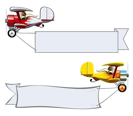 ベクトル漫画の複葉機のバナー。グループおよび簡単な編集のレイヤーで区切られた利用可能な EPS 10 ベクター フォーマット