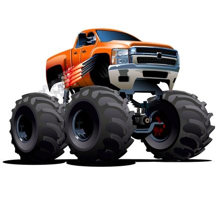 Vector Cartoon Monster Truck. Beschikbare EPS-10 vector formaat gescheiden door groepen en lagen voor eenvoudige bewerking Stock Illustratie