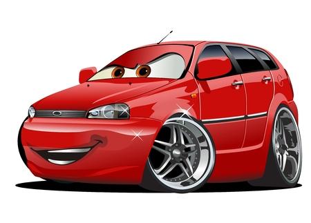 Cartoon auto geïsoleerd op witte achtergrond