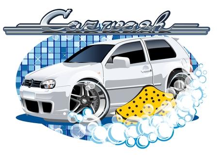 Auto wassen. Beschikbare EPS-10 vector formaat gescheiden door groepen en lagen voor eenvoudige bewerking