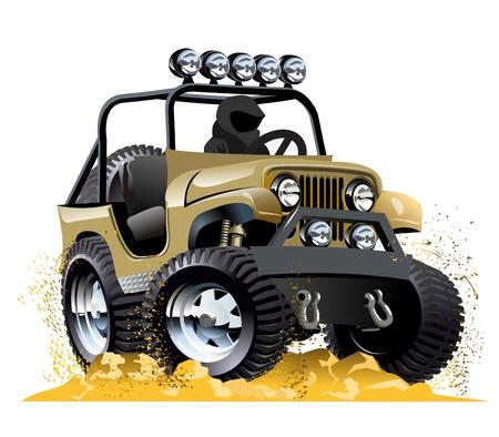 Cartoon jeep op een witte achtergrond. Beschikbare EPS-10 vector formaat gescheiden door groepen en lagen voor eenvoudige bewerking