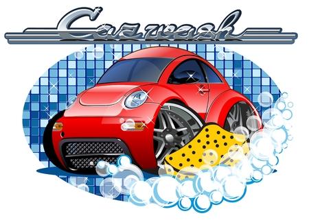 車は洗う。グループおよび簡単な編集のレイヤーで区切られた利用可能な EPS 10 ベクター フォーマット