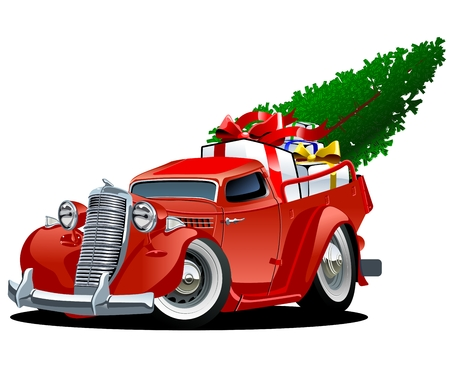 pickup: Cartoon christmas pickup isolated on white background. Available EPS-10 vector format separated by groups and layers for easy edit Illustration