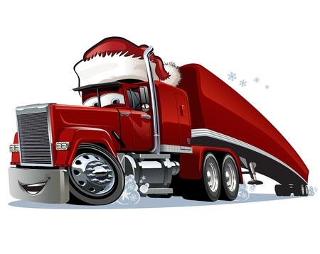Cartoon Christmas truck isolated on white background. Available EPS-10 format separated by groups and layers for easy edit Vector
