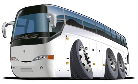 만화 버스 흰색 배경에 고립입니다. 쉬운 편집을위한 그룹 및 레이어로 분리 가능 EPS 8 벡터 형식