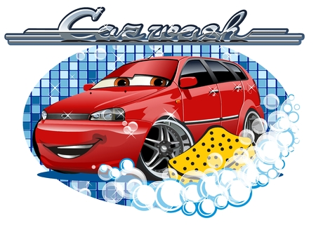 car tire: Car Wash Illustration