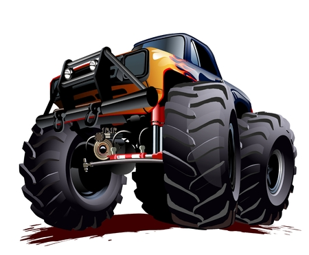 Cartoon Monster Truck illustration  Çizim