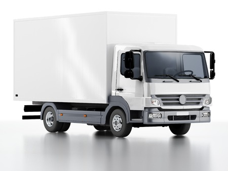 white truck: Commercial Delivery  3d render isolated on white