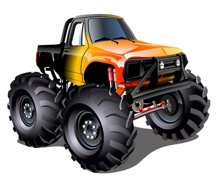 Illustration  Cartoon Monster Truck  Çizim
