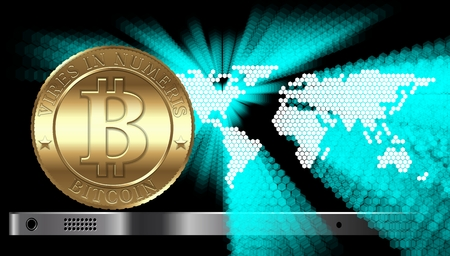 decentralized: Cryptocurrency coin at the gadget on digital world map background