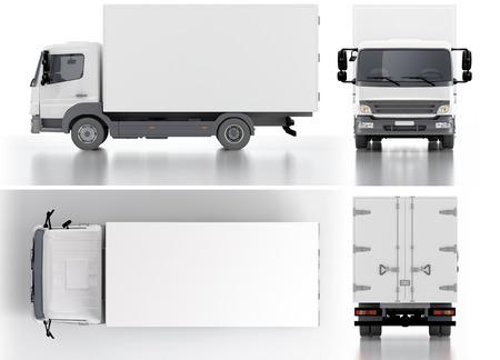 배달화물 트럭 3 차원 렌더링 스톡 콘텐츠