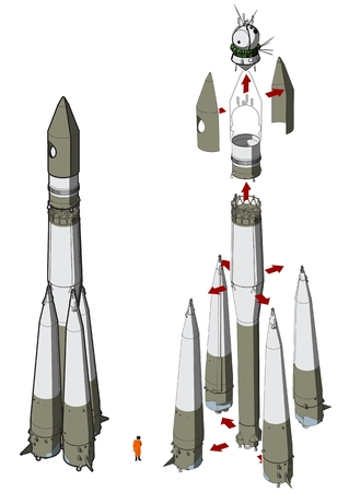 Hi-detailed space rocket with first spaceship  Иллюстрация