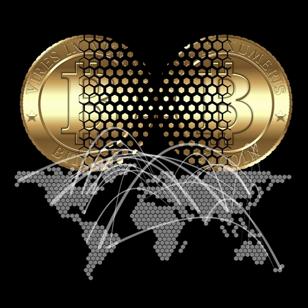 Cryptocurrency coin transaction on digital world map background