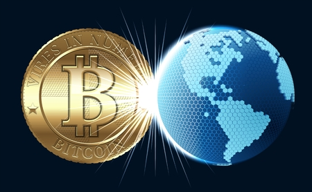 Cryptocurrency coin with digital world Stock Photo - 26071906