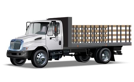tractor trailer: Illustration Flatbed truck