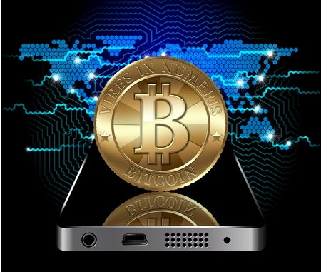 Cryptocurrency coin at the communication device on digital world map background photo