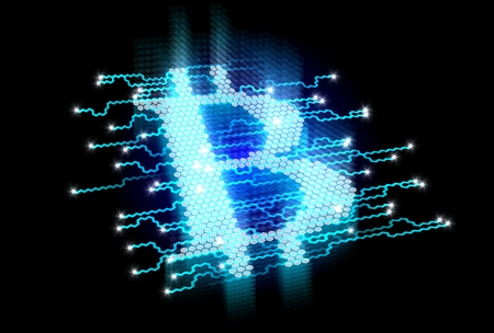 Cryptocurrency transaction in cellular network map background 写真素材