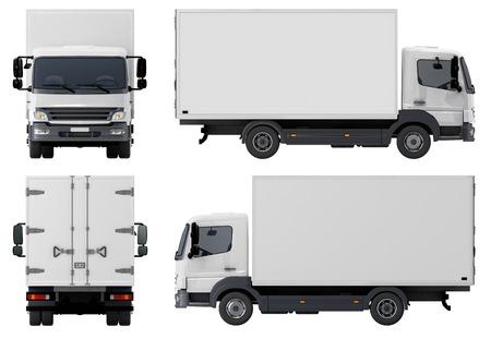白い背景で隔離された配送貨物トラック