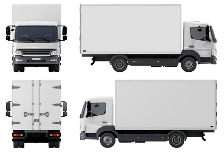 Levering Cargo Truck geïsoleerd op witte achtergrond Stockfoto