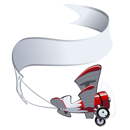 biplane: Vector Cartoon Biplane with banner. Available EPS-10 vector format separated by groups and layers for easy edit