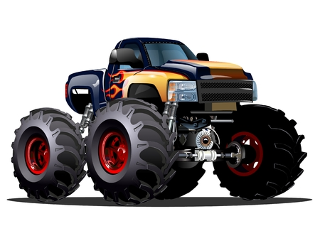 Cartoon Monster Truck. Available EPS-10 vector formats separated by groups and layers for easy edit  イラスト・ベクター素材