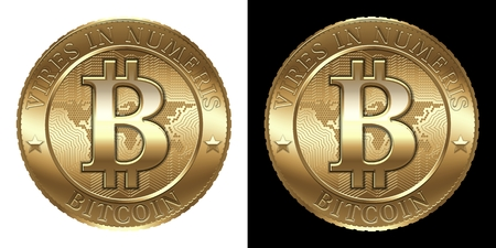 decentralized: Cryptocurrency coin isolated on black and white background Stock Photo