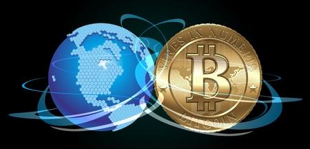 banco mundial: Moneda Cryptocurrency con el mundo digital Foto de archivo