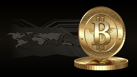 decentralized: Cryptocurrency coin on digital world map background