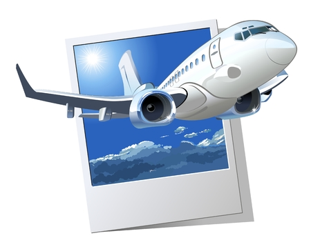 Vector Cartoon Airliner. Available EPS-10 vector format separated by groups and layers for easy edit