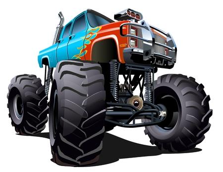 만화 몬스터 트럭. 사용 가능한 EPS-10 한 번의 클릭으로 다시 그리기 위해 투명 효과와 그룹 및 레이어로 분리 일러스트