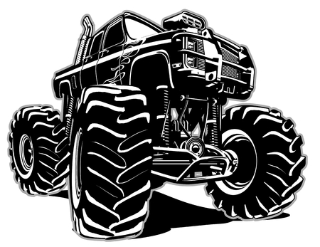 outlines: Cartoon Monster Truck. Available EPS-8 separated by groups and layers for easy edit
