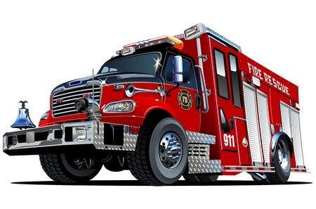 voiture de pompiers: Vecteur de bande dessinée de camion de pompiers. Disponible EPS-10 format vectoriel séparé par des groupes et des couches pour modifier facilement