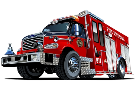 Vector Cartoon Fire Truck. Available EPS-10 vector format separated by groups and layers for easy edit