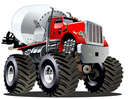 Cartoon Mixer Monster Truck 일러스트