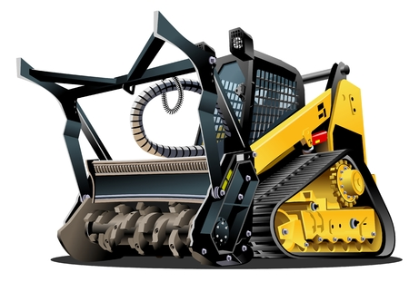 Vector Cartoon Mulcher Tractor.